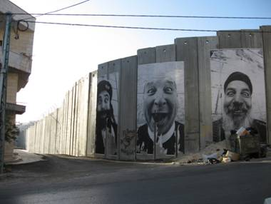 Bethlehem wall with photo's