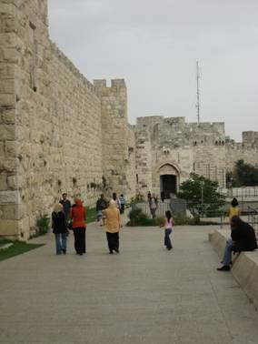 Old City wall with Jaffa Gate