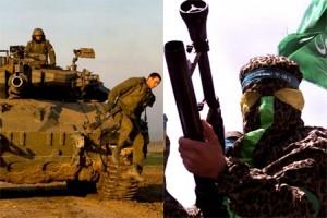 Israeli Tank and Al Qassam Brigade