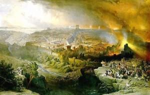 De belegering en vernietiging van Jeruzalem door de Romeinen in 66-70 na Christus