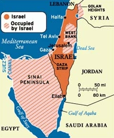 Map Israel after Six Day War 1967