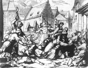 Een pogrom in Praag in 1389