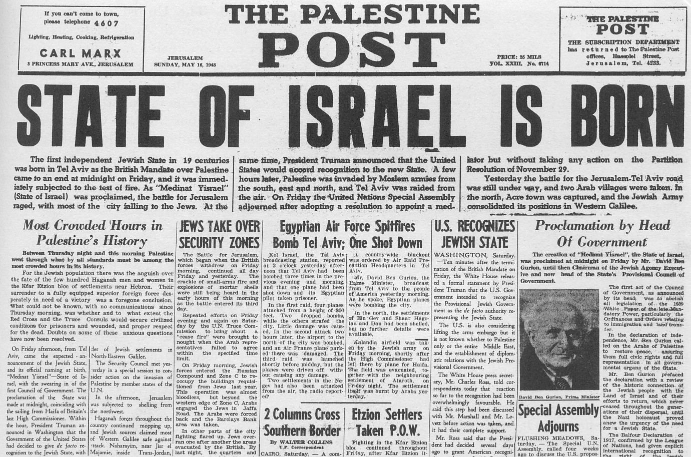 16 May 1948 Palestine Post: Israel is Born