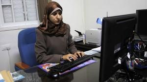 Hamas woordvoerster Israa Al-Mudallal