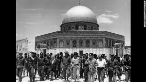 Ben-Gurion en Rabin op de Tempelberg in juni 1967