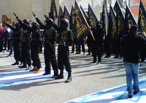 A rally in support of Islamic Jihad at Al-Quds University in East Jerusalem, in November 2013 (Courtesy of Matti Friedman)